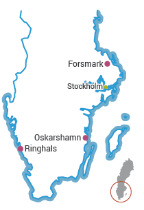 Location of Sweden's operational nuclear power plants