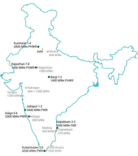 Planned Nuclear Power Plants in India map
