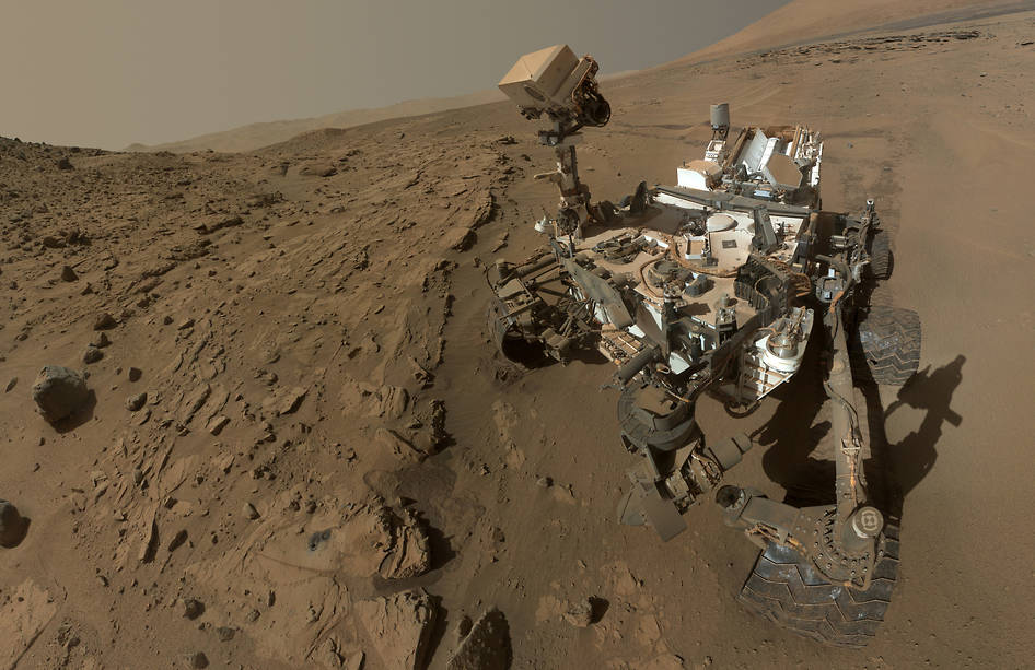 NASA's curiosity rover exploring the surface of Mars