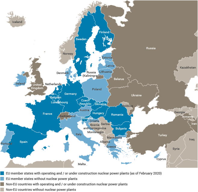 Countries within Europe and the EU specifically that have operating or under construction nuclear power plants