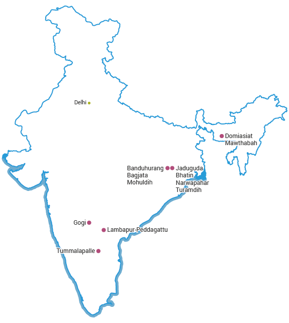 Mines in India map