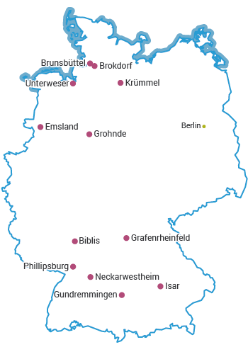 Nuclear Power Plants in Germany Map